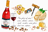 Cheese and wine (illustration)