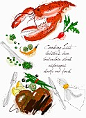 An arrangement of lobster, steak, vegetables and cutlery (illustration)