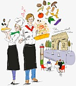 Zwei französische Köche mit Gerichten, im Hintergrund Pariser Triumpfbogen
