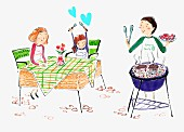 Familie beim Grillen (Illustration)