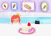 Mädchen & Katze schauen über Tischrand auf Tortenstück (Illustration)