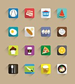 A collection of food and drink icons (illustration)