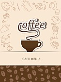 A coffee house menu with a coffee cup and the word 'Coffee' (illustration)