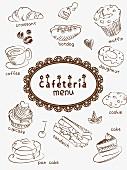 Menükarte einer Cafeteria mit Kaffee, Gebäck & Snacks (Illustration)