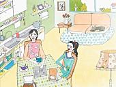 Zwei Frauen trinken gemeinsam Kaffee in der Küche (Illustration)