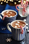 Hot chocolate with marshmallows and candy canes