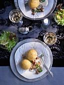 Vegetarische Kürbisknödel mit Pilz-Trüffel-Sauce zu Weihnachten