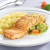 Salmon fillet with rice and vegetables (I)