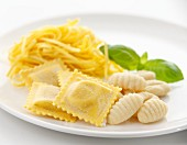 Fresh ravioli, linguine and gnocchi with basil