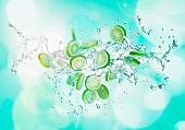Limes with a splash of water