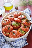Tomatoes with asparagus filling