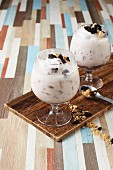 Yoghurt smoothie with cookies and marshmallows