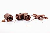 Verschiedene Schokoladenröllchen