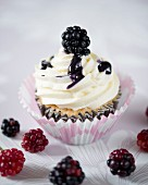 A blackberry cupcake with blackberry sauce
