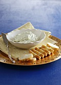 Cream cheese and herb cream with bread