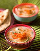 Coconut milk soup with prawns and limes (Asia)