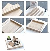 Holztablett als Ablage oder Blumendekoration selbermachen