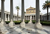 The forecourt of the Church of San Paolo Fuori Le Mura, Rome