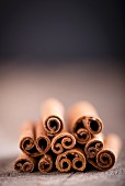 A stack of cinnamon sticks