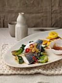 Doradenfilet mit Chili-Ingwer-Vinaigrette, Pak Choi und gebackenen Kochbananen