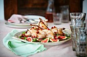 Roast wild poultry with figs and pomegranate seeds