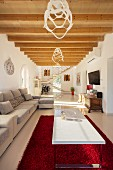 The living room of the finca Villa Emmy, Majorca