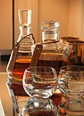 Bourbon and rye whiskey in crystal decanters