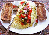 Omelette with peppers and toast