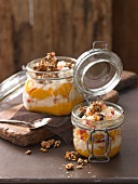 Rice pudding with carrot mousse and nuts