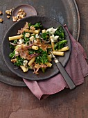 Pasta with kale, walnuts, pancetta and gorgonzola