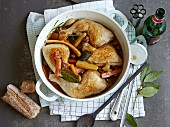 Chicken stew with mushrooms in a beer broth