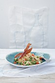 Spaghettini with crispy ham
