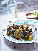 Oriental lamb fillet kebabs with mint