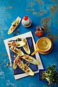 Stuffed chicory with curry cream