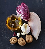 Ingredients for chicken breast with braised radicchio