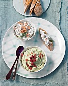 Shrimp dip with dill and a wild garlic dip with ham