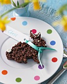 A chocolate rice crispy bunny