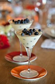 Yoghurt mousse with blueberries