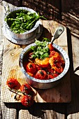 Prawns and tomatoes
