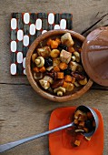 Turkey goulash with mushrooms, pumpkin and dried fruits