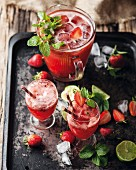 Strawberry and mint cordial