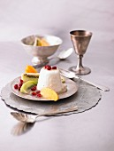Yoghurt mousse with an exotic fruit salad