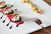 Red radish with horseradish cream