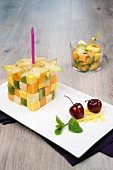 A Rubik's cube fruit salad