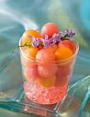 A dessert with melon balls