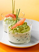 Seafood cream with crab meat, haddock and avocado