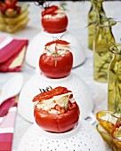 Tomatoes filled with risotto and tarragon