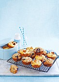 Pumpkin, cheese and bacon muffins; banana, blueberry and oat muffins