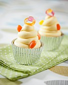 Cupcakes decorated with jelly beans and jelly rings