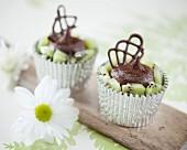 Chocolate kiwi cupcakes